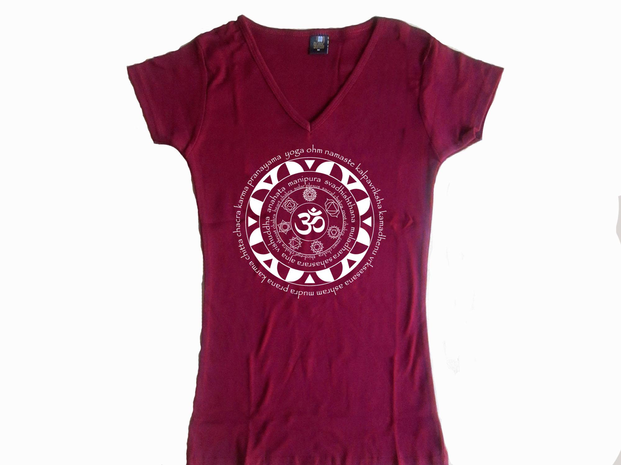 Oga female t shirts my cool t shirt mandala 7 chakras om w yoga terms women bordeaux t shirt izmirmasajfo Images